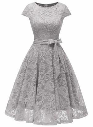 MuaDress 6008 Short Lace Bridesmaid Dresses with Cap-Sleeve Formal Dresses S Black