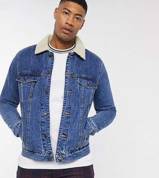 Topman Big & Tall denim jacket with borg collar in blue