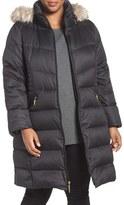 Ellen Tracy Plus Size Women's Faux Fur Trim Down Coat