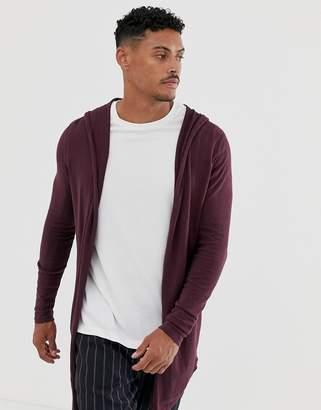 Asos Design DESIGN knitted hooded cardigan in burgundy-Red