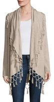 Ella Moss Ninette Fringed Open-Front Wool & Cashmere Blend Sweater