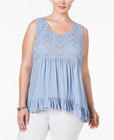 American Rag Trendy Plus Size Ruffled Eyelet Top, Only at Macy's