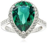 Amazon Collection Sterling Silver Swarovski Siam Color and Clear Crystal Pear Ring, Size 8