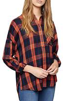 Sanctuary Tie-Back Plaid Boyfriend Shirt