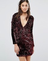 Motel Meli Bodycon Dress In Sequin With Plunge Neck