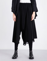 Y's Ys Pleated dropped-crotch wide high-rise crepe trousers