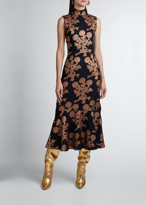 Andrew Gn Floral Brocade Flounce Hem Midi Dress