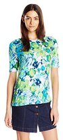 Caribbean Joe Women's Floral Printed Cotton Spandex Elbow Sleeve Boatneck Tee