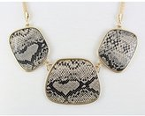 Kenneth Jay Lane Gold Chain 3 Snake Print Disc Bib Necklace