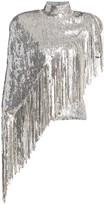Balmain Asymmetric Sequin Fringe Mockneck Top