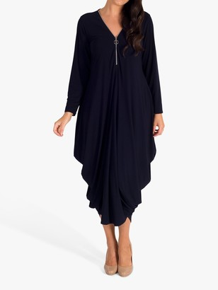 Chesca Zip Collar Drape Dress, Navy