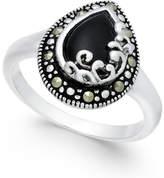 Macy's Onyx (5/8 ct. t.w.) & Marcasite Ring in Fine Silver-Plate