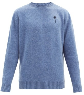 The Elder Statesman Logo-embroidered Cashmere Sweater - Blue
