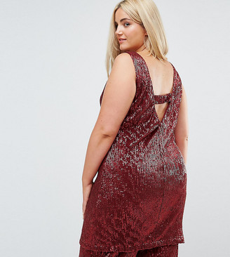 ELVI Allover Premium Sequin Shift Dress With V Back