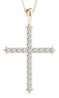 14KT 1.00 CT Prong Round Cut Diamond Cross Pendant Necklace Amcor Design