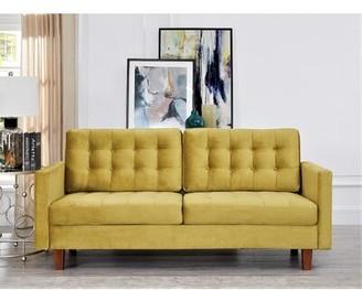"Latitude Run Brande Velvet 74.5"" Square Arms Sofa Upholstery Color: Yellow"