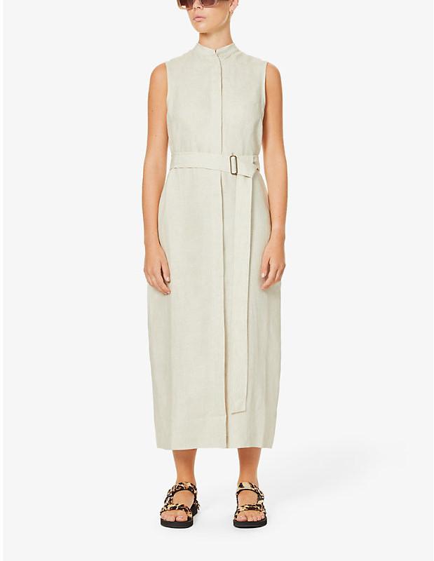 BONDI BORN Utility linen midi dress
