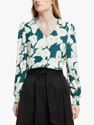 Somerset by Alice Temperley Lily Print V Neck Blouse, Green