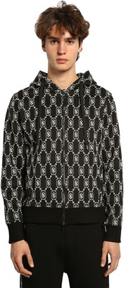 Neil Barrett Logo Techno Jersey Zip-Up Hoodie