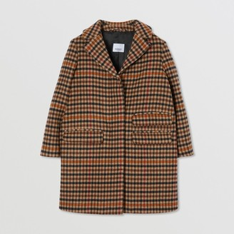 Burberry Embroidered Monogram Motif Check Wool Tailored Coat
