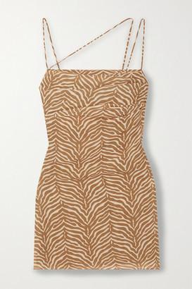 De La Vali Frisco Ruched Tiger-print Georgette Mini Dress - Taupe