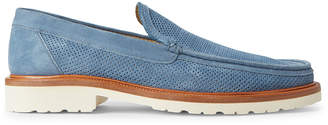 a. testoni A.Testoni Blue Perforated Suede Loafers