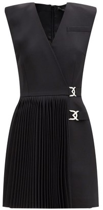 David Koma Logo-hardware Pleated Wool-crepe Dress - Black
