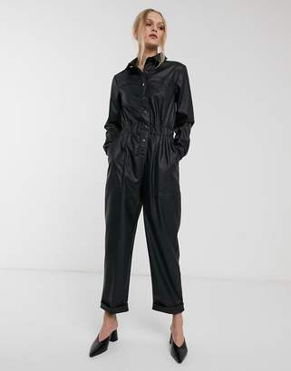 Asos Design DESIGN leather look boiler jumpsuit with popper front-Black
