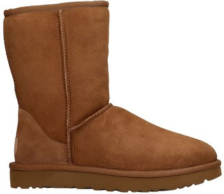 UGG Classic Short I Low Heels Ankle Boots In Brown Suede