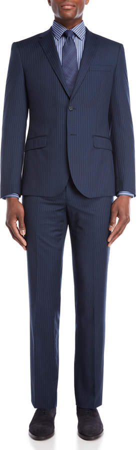 English Laundry Two-Piece Navy Stripe Wool Suit
