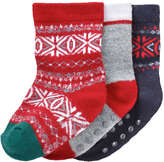 Joe Fresh Baby Boys' 3 Pack Fair Isle Print Socks, Red (Size 0-12)