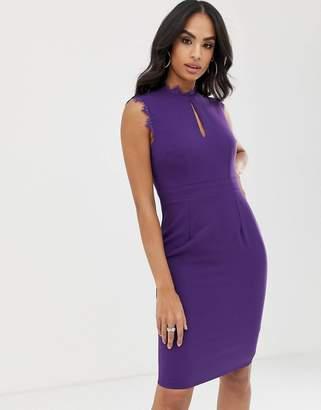 Little Mistress sleeveless eyelash lace trim midi pencil dress-Purple