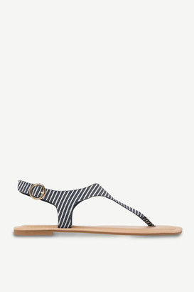 Ardene Faux Leather Striped T-Strap Sandals