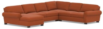 Pottery Barn Turner Roll Arm Upholstered 4-Piece Chaise Sectional