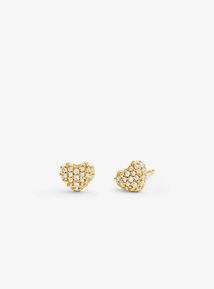 Michael Kors Precious Metal-Plated Sterling Silver Pave Heart Studs