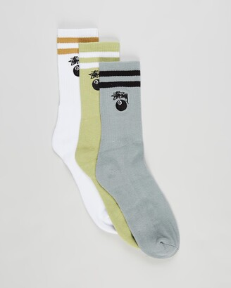Stussy Grey Crew Socks - 8 Ball Stock Socks - 3-Pack - Size One Size at The Iconic