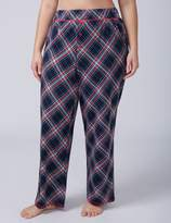 Lane Bryant Navy Plaid Knit Sleep Pant with Buttons