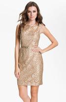Back Cutout Metallic Lace Sheath Dress