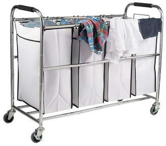 HomeIT 4 Bag Heavy Duty Laundry Hamper Sorter Cart with Wheels