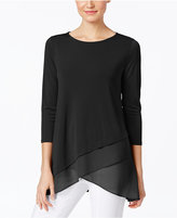 Alfani Petite Chiffon Crossover-Hem Top, Created for Macy's