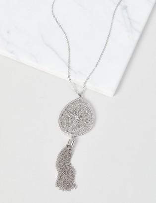 Lane Bryant Filigree Pendant Tassel Necklace - Silvertone