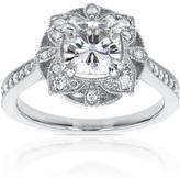 Kobelli Jewelry 1 1/3 CT TW Forever Classic Moissanite 14K White Gold Vintage Floral-Theme Engagement Ring with Diamond Accents