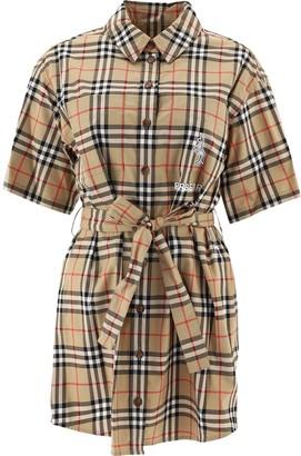 Burberry Zebra Applique Vintage Check Shirt Dress