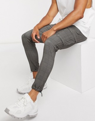 SikSilk checked cargo joggers with logo waistband in GREY
