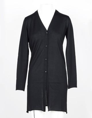 Lamberto Losani Black Cashmere and Silk Blend Women's Long Cardigan Sweater