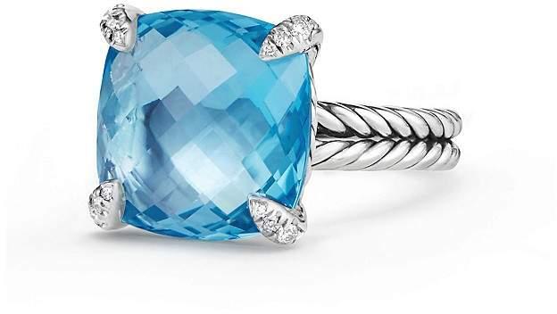 David Yurman Ch'telaine Ring with Blue Topaz and Diamonds, 14.3mm