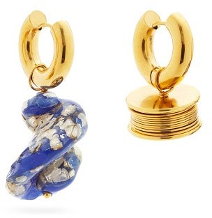Timeless Pearly Mismatched 24kt Gold-plated Hoop Earrings - Blue Gold