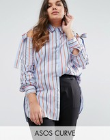 Asos Cold Shoulder Top in Stripe with ties