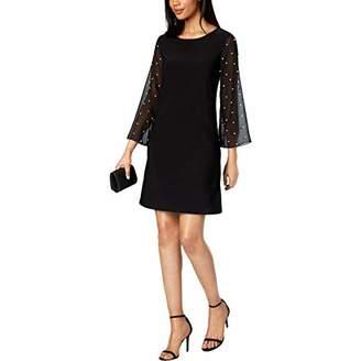 MSK Women's Pearl Detailed Mesh Bell Sleeve Tunic Shift Dress