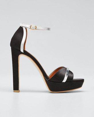 Malone Souliers Miranda Satin Platform Ankle-Strap Sandals
